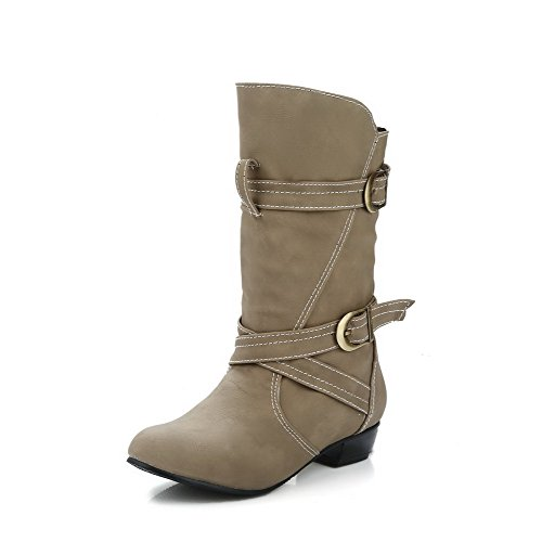 Closed On Solid Women's Heels AgooLar Top Apricot Low Low Toe Boots Round Pull wXROt0q