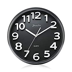 Gkwet Large Number Wall Clock, Silent Non Ticking 13 inch Large 3D Numbers Quality Quartz Decorative Wall Clock, Round Easy to Read Modern Style Good for Home, Office, School (Black)