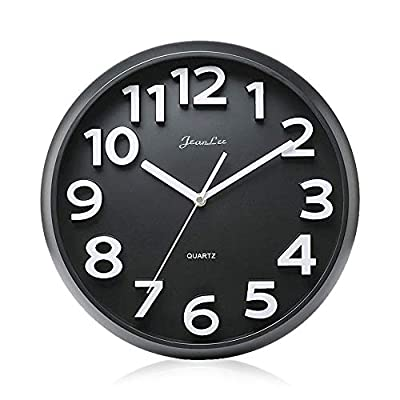 Gkwet 12 inches Silent Non Ticking Large Wall Clocks Decorative Indoor Kitchen Clock 3D Numbers Display Round Easy to Read,Battery Operated Wall Clocks (Black) - 12 inch basic dial quartz wall clock, non ticking, quiet sweep second hand ensure a good sleeping and work environment. Perfect for home, office or classroom - any place accurate timekeeping is needed. Large and clear 3D intuitive numeric indicator at every hour and minute tracker make it easy to see from any corner of your room. Unlike other using cardboard as clock background that easy damaged in moisture and wet season, this clock back base are made of solid plastic, therefore remain well function and dry in any weather condition. - wall-clocks, living-room-decor, living-room - 41OdVIIQbeL. SS400  -