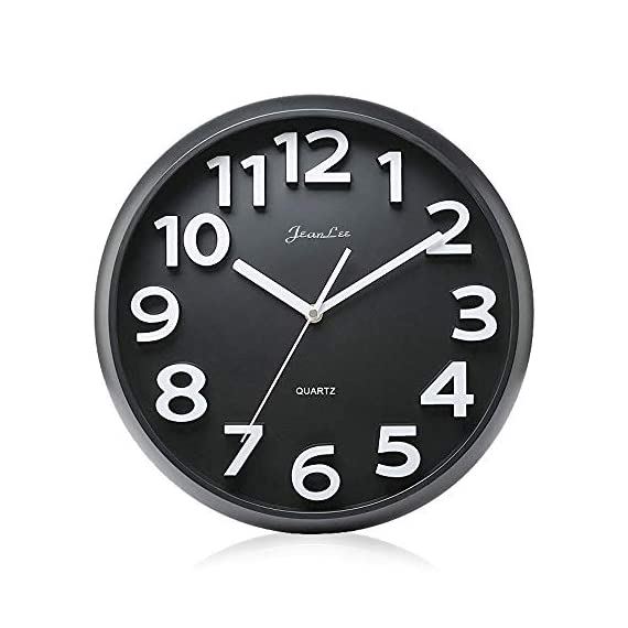 Gkwet 12 inches Silent Non Ticking Large Wall Clocks Decorative Indoor Kitchen Clock 3D Numbers Display Round Easy to Read,Battery Operated Wall Clocks (Black) - 12 inch basic dial quartz wall clock, non ticking, quiet sweep second hand ensure a good sleeping and work environment. Perfect for home, office or classroom - any place accurate timekeeping is needed. Large and clear 3D intuitive numeric indicator at every hour and minute tracker make it easy to see from any corner of your room. Unlike other using cardboard as clock background that easy damaged in moisture and wet season, this clock back base are made of solid plastic, therefore remain well function and dry in any weather condition. - wall-clocks, living-room-decor, living-room - 41OdVIIQbeL. SS570  -