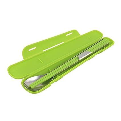 El almuerzo eDealMax Escuela acampa portable de cubiertos palillos cuchara Cubiertos Box Set 6 en 1