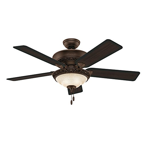 hunter fan company italian countryside 52inch ceiling fan with five aged walnut blades and light kit cocoa