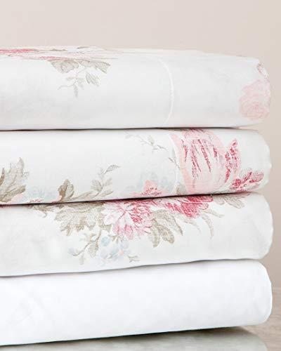 Belle Epoque Vintage Rose Sheet Set, Queen Sheet Set, White
