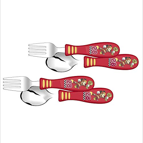 (Zak Designs Mickey Easy Grip Flatware Fork And Spoon Utensil Set - Perfect for Toddler Hands With Fun Characters, Contoured Handles And Textured Grips (2 Pack), Mickey Roadster Racer 2pk)