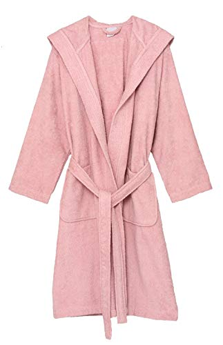 TowelSelections Women's Hooded Robe, Cotton Terry Cloth Bathrobe Medium Coral Blush ()