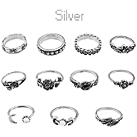 Vintage 11Pcs/Set Boho Arrow Moon Midi Finger Knuckle Rings Silver Ring Gift New ERAWAN