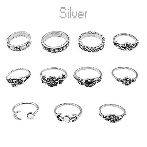 Vintage 11Pcs/Set Boho Arrow Moon Midi Finger Knuckle Rings Silver Ring Gift New ERAWAN (Boho Rings Silver)