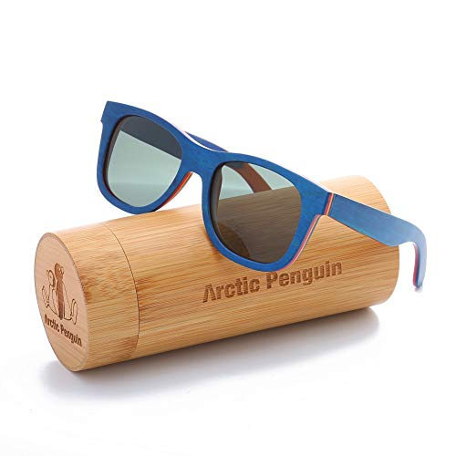 Skateboard Sunglasses Wood Glasses Polarized Fishing Sun Shades for Men UV400 Protection with Bamboo Case 52mm (Blue, ()