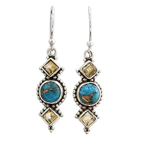 - NOVICA Reconstituted Turquoise Colored .925 Sterling Silver Dangle Earrings 'Seashore Radiance'