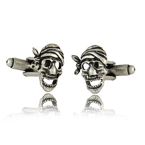 Pirate Skull Oxidized Silver Tone Cufflinks