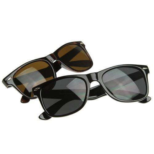 3d0c6e8d897 zeroUV - Classic Eyewear 80 s Retro Large Horn Rimmed Style Sunglasses  (2-Pack Smoke Lens (Black + Tortoise)) - Buy Online in Oman.