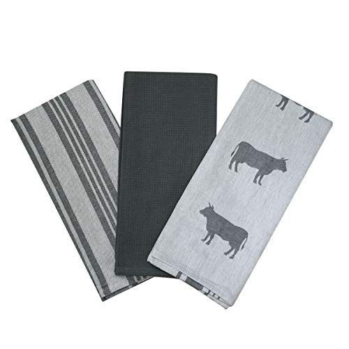 Kitchen Dish Towel by F.E.D, Extra Large Tea Towel in 3 Variations, 100% Professional Cotton, Machine Washable Fabric (Set/Pack of 3) (Grey Cow) (Cow Kitchen Towels)