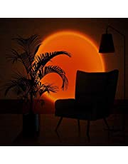 Sixology Sunset Table Lamp Rainbow Projection Lamp LED Light Projector Sun Floor Lamp for Living Room Bedroom Background Wall Color Lights for Taking Pictures Live Broadcast 5V USB (Sunset-red)