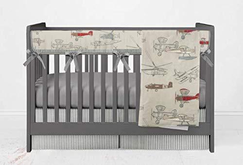 Crib Bedding Set - Vintage Airplane Red - 4 Piece Crib Bedding Set with Rail Guard by Twig + Bird - Handmade in America