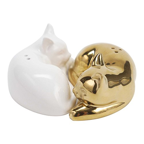 Hallmark Home Cats Salt and Pepper Shaker Set, Set of 2 Coordinating Cats, White and Gold