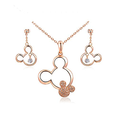 Mall of Style Mickey Jewelry Necklace and Earrings Set - Trendy Plated Character Jewelry for Teenage Girls (Rose Gold Jewelry Set)