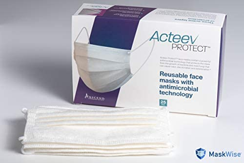 Acteev Protect Reusable Face Masks | Multilayer Nylon Face Covering with Microfiber Technology | Washable & Reusable Masks w Active Zinc Ions | 3 Layer Safety Masks | Breathable Face Mask 25PCS/ Box