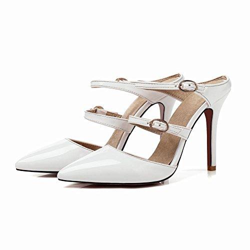 en Bout Escarpins MissSaSa Vernis Femmes Chaussures Pointu à Blanc Talons Hauts wqPqEIx5