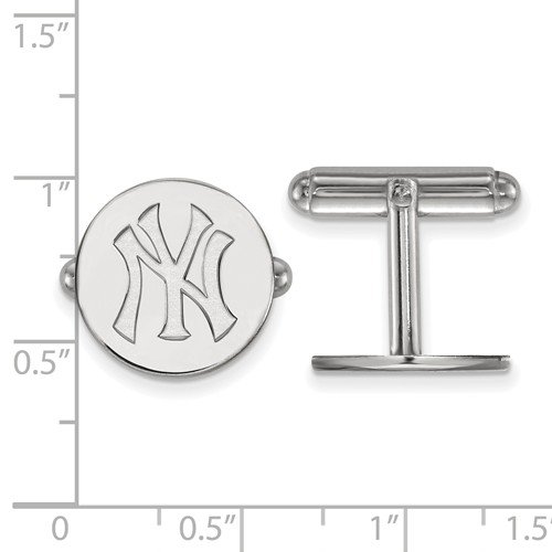 Rhodium-Plated Sterling Silver MLB New York Yankees Round Cuff Links, 15MM by The Men's Jewelry Store (Image #3)