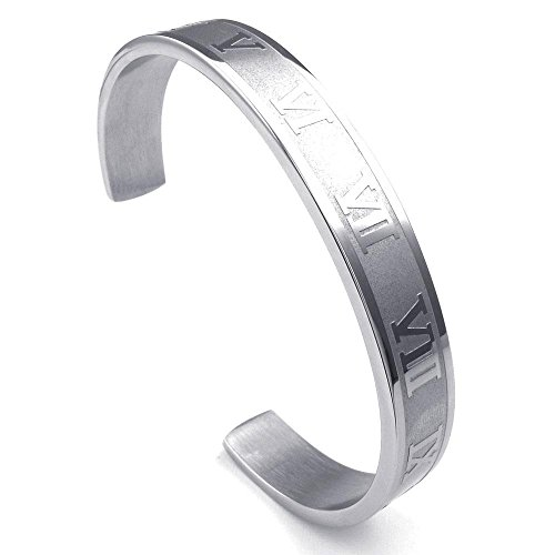 (jonline24h Mens Womens Stainless Steel Bracelet, Classic Roman Numerals Numbers Cuff Bangle, Silver )