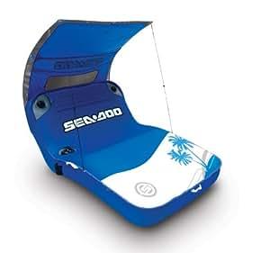 SeaDoo SD05006 Cabana Lounge - Colchón hinchable con auriculares integrados, color azul y blanco