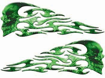 Graphics Tribal Flames Decals - Weston Ink Tribal Style Evil Skull Flame Graphics with Green Inferno Flames