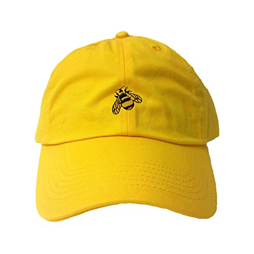 (Go All Out Adjustable Yellow Adult Bumble Bee Embroidered Dad Hat )