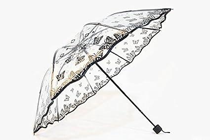 Paraguas grueso con tres paraguas plegable transparente Pequeño fresco princesa paraguas mariposa (Color : Negro