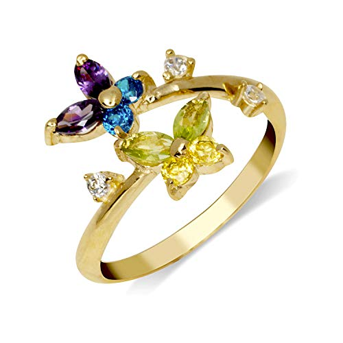 JewelryWeb Solid 10K Yellow or White Gold Butterfly Adjustable Multi-Color Cubic Zirconia CZ Toe Ring (12mmx15mm) (Yellow-Gold)