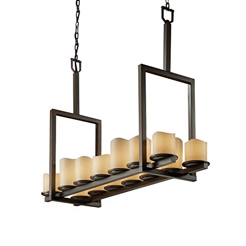 (Justice Design Group CandleAria 14-Light Chandelier - Dark Bronze Finish with Cream Faux Candle Resin Shade)