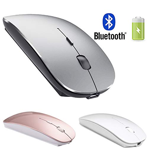 Rechargeable Bluetooth Wireless Mouse for Laptop Wireless Bluetooth Mouse for MacBook pro Air Laptop MacBook Mac Windows (Grey Black) (Best Laser Mouse 2019)