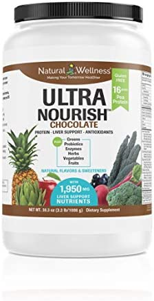 UltraNourish Chocolate Vegetarian Superfood Shake – Total Body Support for The Liver, Heart, and Digestive Health – 38.3 oz Natural Wellness 16g Pea Protein Powder Drink Mix – 30 Servings