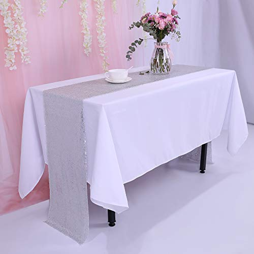 - TRLYC Silver Sequins Table Runner Table Runner 108 inches 12''x108''