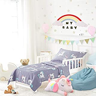 Uozzi Bedding 4 Piece Blue-Gray Unicorn Toddler Bedding Set with Rainbow Stars - Includes Adorable Quilted Comforter, Fitted Sheet, Top Sheet, and Pillow Case - Cute Design