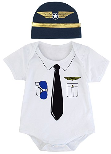 Mombebe Baby Boys' Pilot Costume Bodysuit with Hat (0-3 Months, Pilot)