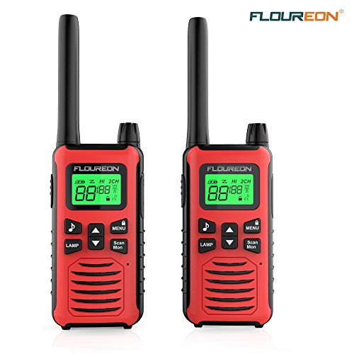 floureon Walkie Talkies for Adults Long Range Two Way Radio 22 Channel 3000M (MAX 5000M) USB Cable Charging Walkie Talkies 2 Pack for Outdoor Adventures Camping Hiking