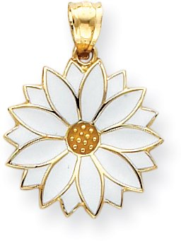 Quality Gold Enamel Daisy Charm, 14K Yellow - Gold Enameled Daisy