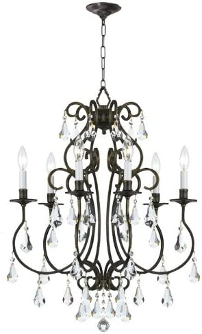 Crystorama 5016-EB-CL-MWP Crystal Accents Six Light Chandeliers from Ashton collection in Bronze Darkfinish,