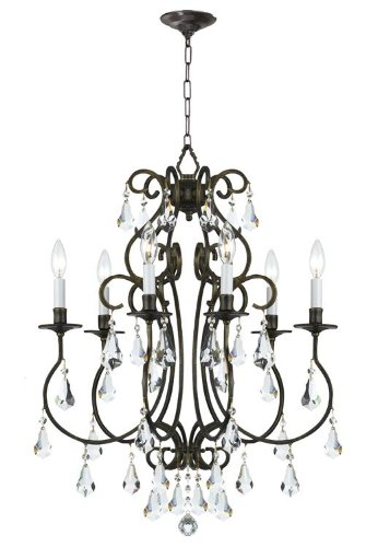 Crystorama 5016-EB-CL-MWP Crystal Accents Six Light Chandeliers from Ashton collection in Bronze/Darkfinish,