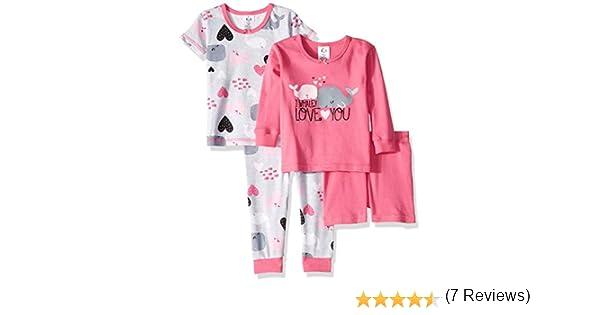 Gerber Pijama para niñas de 4 Piezas - Rosa - 12 Meses: Amazon.es: Ropa y accesorios