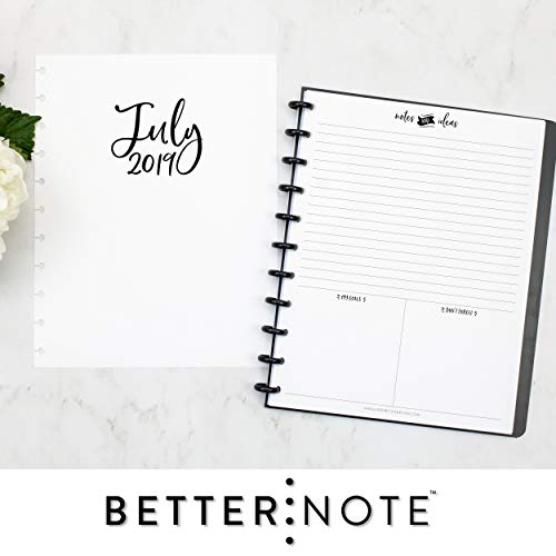 BetterNote 2019-2020 Monthly Calendar for Disc-Bound Planners, Fits 11-Disc, Levenger Circa, Arc by Staples, TUL by Office Depot, Letter Size 8.5x11 Whimsy (Notebook Not Included)