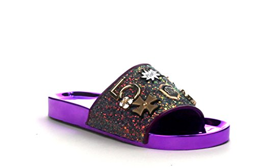 Women Slide Flip Flop Glitter Metal Pendant Ornament Sandal Amor-2 (9, Purple)