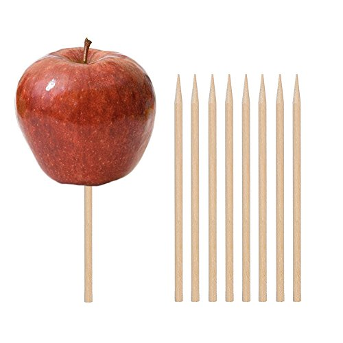 (Wooden Candy Apple Skewer Sticks, 100 PCS Birch Wooden Cotton Candy Stick Rock Candy Stick Skewer Semi Pointed Lollipop Sticks 5.25