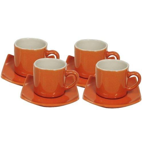 Brick Red Ceramic Espresso Cup and Saucer Set, Service for 4