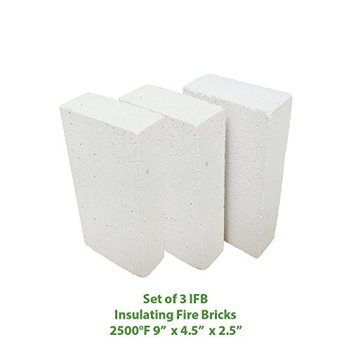 Insulating FireBrick 9x4.5x2.5 IFB 2500F Set of 3 Fire Brick