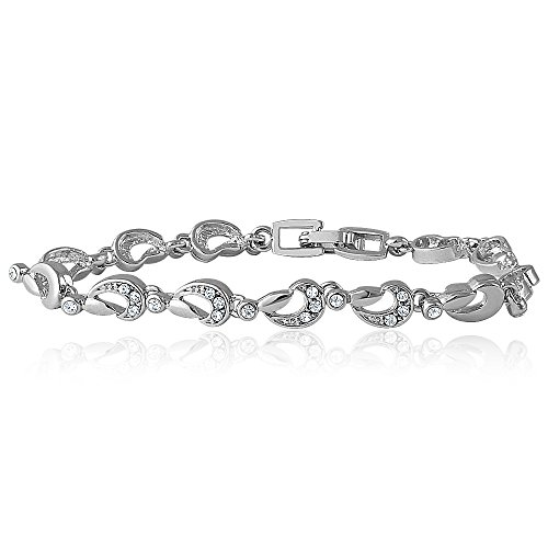 Mahi Rhodium Plated Paisley Single Strand Bracelet With Crystal For Women Br1100244R