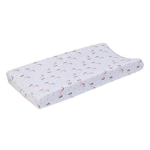 NoJo Unicorn Super Soft Changing Pad Cover, White/Pink/Silver by NoJo