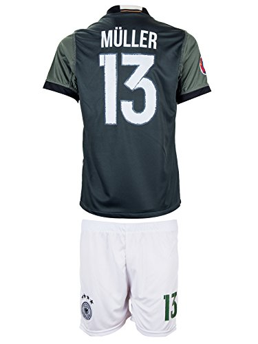 Germany UEFA Euro 2016 #13 Thomas Müller Away Soccer Kids Jersey & Shorts - Youth Sizes (XL - (10-11 Ages)) (Mueller Youth Jersey)