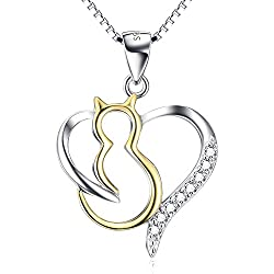 "YFN Women's Two-Tone Love Heart Cat Necklace,18"""