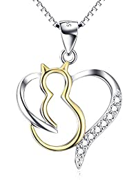 """Women's Animal Jewelry Gift Solid Silver Two-Tone Love Heart Cat Necklace,18"""""""